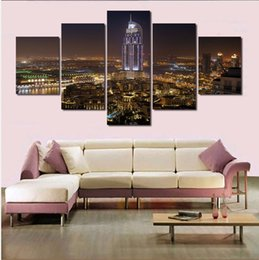 $enCountryForm.capitalKeyWord Canada - 2016 Poster 5 Panels New York City On Night Painting Canvas Wall Art Picture Home Decoration Living Room Canvas Modern Painting