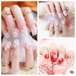 $enCountryForm.capitalKeyWord Canada - Wholesale- 24Pcs set French Pre Design Beautiful 3D False Nails Tips Fake Nail French Nail Art Tips With Free Glue