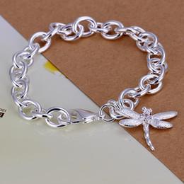Dragonfly Pendant Charm Bracelet Canada - Lady girl vogue Jewlery 925 sterling silver plating Charm pendant dragonfly bracelets Shrimp buckle bracelet 10pcs lot H282