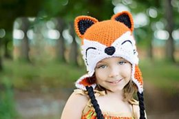 Barato Raposa Animal Beanies-Natal Crochet Fox Hat Bebé Flower Headwear Têxtil Animal Cap Winter Infant Toddler Cartoon Hat Newborn Crianças Crianças Beanie Cotton