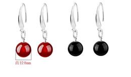 $enCountryForm.capitalKeyWord Australia - Women Jewelry 925 sterling Silver Natural Red Black Agate Drop Dangle Hook Earrings Ear Rings ear studs eardrop Onyx Earings Free Ship DHL