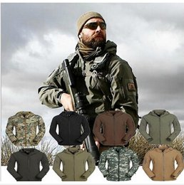 Barato Hoodie Tático-Alta qualidade TAD Shark Skin Camouflage Outdoors Jaqueta Militar Men Waterproof Tactical Softshell Sports Hoodies Army Hunting Outdoor Jacket