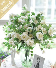 long white bouquets NZ - Hot Sell Home Decoration Wedding Rose Flower White Artificial Silk Rose Bouquet 60cm Long Rose Bunch