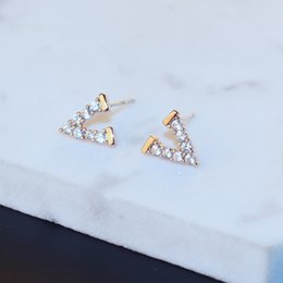 Copper Pin Earrings Canada - Agood fashion jewelry accessories for women earrings letter V 925 sterling silver pin party wedding ER00804