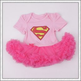Jupe Rose À Volants Pas Cher-Cute Baby infantile enfant en bas âge Superman Superwomen barboteuse Onesies Robe tutu jupe dentelle courte en mousseline de soie volants rose Pyjamas COTTON bodysuits