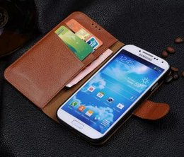 genuine leather cover for s4 NZ - New Arrival For Samsung S4 Case Original Flip Purse Wallet Stand Cover Luxury Genuine Leather Case For Samsung Galaxy S4 I9500