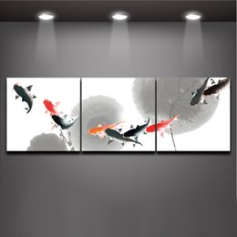 Modern Drawing Oil Paint Canada - Fish Big Splash Chinese Style ink wash drawing 3 Panels Modern Wall Oil Painting Printed On Canvas For Bedroom Living Room Home Decoration