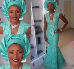 aso ebi style wedding dress 2019 - Cap Sleeve V Neck Plus Size aso ebi Styles Evening Gowns 2015 Mermaid Arabic Prom Party Gowns Nigeria Green Lace Wedding