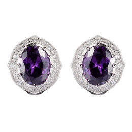 $enCountryForm.capitalKeyWord UK - 925 sterling silver Favourite Earrings Promotion Noble Generous Best Sellers S-3753 Amethyst Cubic Zirconia Shinning Time limited discount