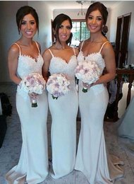 Evening Dresses For Weddings Cheap Canada - 2016 New Spaghetti Strapless Cheap Bridesmaids Dresses Formal Long Mermaid Evening Dresses For Wedding Party Custom Made