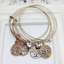 Infinity Love Tree Life Bracelet Canada - New Fashion Gold & Silver Plated Bracelets Vintage Tree Of Life Infinity Bangles Expandable Punk Jewelry free shipping