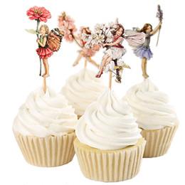 Vente en gros 120pcs / lot Fleur Fée Fleurs et Little Girl Cake Outils Décoration Fruits Cupcake Inserted Card Stands Baking fournitures pour les enfants