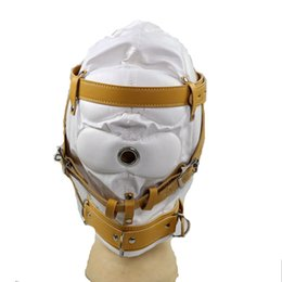 Face Mask Sex Party UK - BDSM Bondage Sex Hood Female Face Head Mask Sexual Party Gear Adult Sex Toys for Women HMHD-1001B White