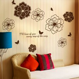 romantic art posters Australia - Romantic Wall Art Flowers Mural Sticker Decor I love of you every step of the way Wall Quote Decal Poster DIY Home Decoration Decal