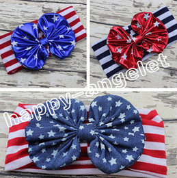 $enCountryForm.capitalKeyWord Canada - 10pcs women baby the USA flag knotted bronzing Bow Turban Twist hair band flower 4th of July headband Head Wrap stripe stars HeadWrap FD6549