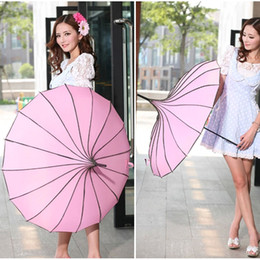 Discount girls umbrellas - Wholesale-4pcs lot Elegant Pagoda Style Umbrella Windproof Rain Parasol Girls Summer UV Protection Accesories H206