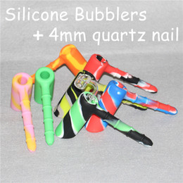 $enCountryForm.capitalKeyWord NZ - Multi-Function Silicone Hammer Bubbler Hand Pipe with 4mm Quartz Nail Food Grade Silicone Wax Jar Container Tobacco Smoking Pipe