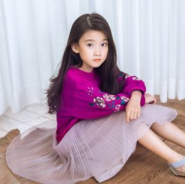 Barato Saias 6t-Varejo Spring Autumn Family Matching Outfits Embroidery Sweatshirts + Skirt Girls Long Sleeve Fashion Outfits Q111