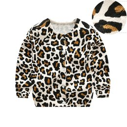Barato Roupas De Leopardo Para Meninos-Baby Boys Cardigan Crianças Leopard Printed Knitted Sweater ins Kids Spring Autumn Cotton Clothing Cheap Free DHL 538
