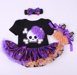 Barato Saias Do Tutu Do Bebê Do Dia Das Bruxas-Baby Girls Halloween Romper headbands kids Halloween uma peça laço tutu saia + headbands + sapatos terno bebê roupas frete grátis