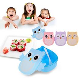Toptan satış Gıda Piknik Set İçin Karikatür Baykuş yemek kutusu Gıda Meyve Saklama Kabı Taşınabilir Çocuklar Öğrenci Bento Box Çocuk Hediyeleri