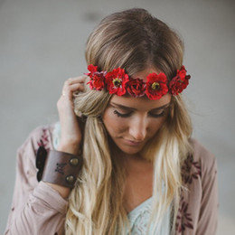 bohemian style headbands wholesale Canada - Wedding Bridal Floral Crown Braided Flower Garlands For Girl Women Lovely braided Headband Tiara Beach Ornament Bohemian Style