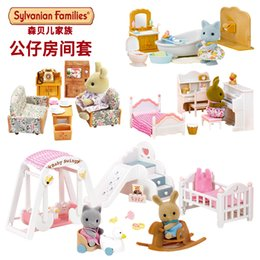 New Arrival Sylvanian Family Rabbit Sister Honey Room Bathroom Dining Room  Set Living Room Sets Doll Sweet Home Play House Toys