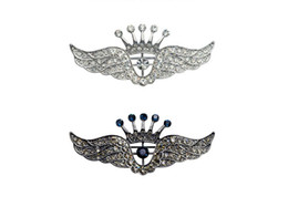 $enCountryForm.capitalKeyWord UK - Fashion Trendy Hot Unisex Jewelry Rhinestones Silver Crown Wing Brooch Pin Women Men Wedding Jewelry Wholesale 12Pcs