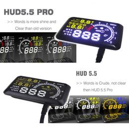 Discount head hud - 5.5 HUD Headup Display Car Speed Projector Car hud Windshield Projector Head OBD2 fuel Overspeed KM H for Toyota Ford BM
