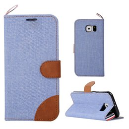 $enCountryForm.capitalKeyWord Canada - For Samsung Galaxy S8 PLUS J5 Prime S6 S5 Mini Jean Cloth Dual Color Wallet FLip Leather Case Pouch Card Stand British Style TPU Cover 1pcs