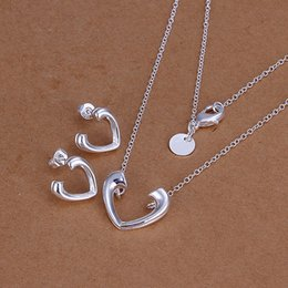 Lovers Branded Earring Canada - High grade 925 sterling silver Heart opening piece jewelry set DFMSS0177 brand new Factory direct 925 silver necklace earring