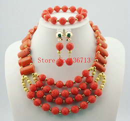 Indian Coral Beads Canada - Latest Coral Gold African Wedding Beads Jewelry Set African Nigerian Coral Beads Jewelry Set Dubai Gold Bridal Jewelry Set HD102-1