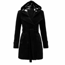Barato Manto Com Capuz De Renda-Womens Black Hooded Inverno Wool Coat Full Sleeve Outono Inverno Warm Female Long Cloaks Outwear Voltar Lace Up Wool Coat Plus Size