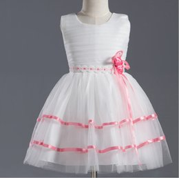 $enCountryForm.capitalKeyWord Canada - Starsdress A-line Scoop Crepe White Cheap With Pink Red Ribbon Appliqued Real Lovely Flower Girl Dresses Real Cute Gown