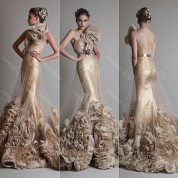 Barato Um Ombro 26w Ouro Sequin-2015 Luxo Krikor Jabotian Mermaid Evening Dresses Backless One Shoulder Ruffled Gold Sequin Formal Prom Party Queen Pageant Vestido Vestidos