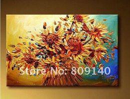 Flower Artwork Modern Canada - Flower oil painting Thick Texture Yellow Sunflower artwork Modern decoration handmade home office hotel wall art decor free ship