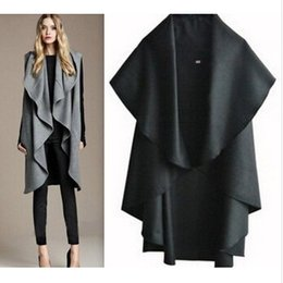 Long Manteau À Capuchon Sans Manches Pas Cher-2016 New Winter Long Coats Cape For Women Casual sans manches Plus Size Black Woolen Jacket Vest trench Coats Overcoat Outerwear Vêtements D4