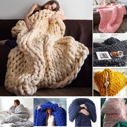 Discount thick warm blankets - 100*200cm 80*100cmWinter Spring Warm Chunky Knit Blanket Thick HandCrafted Kinitted Throw Photograph Blanket 16 COlors 6