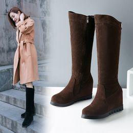 881eeca5202 Women nubuck Leather Wedges Boots Zipper Over Knee Boots Inside Heel Winter  Shoes Warm Botas Women Footwear Size 34-43