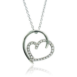 $enCountryForm.capitalKeyWord Canada - Fashion Heart Pendant Necklace White Rhinestone Silver Plated Necklace For Girlfriend Romantic Valentines Day Gift Jewelry QRXL0012