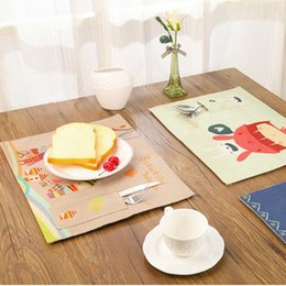 $enCountryForm.capitalKeyWord NZ - Wholesale- Cartoon Cotton Linen Cloth Tablemat Forest Deer Pattern Western Pad With Cutlery Bag Insulation Pad Dining Table Mat Coaster