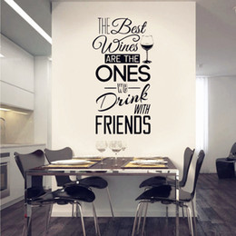 """$enCountryForm.capitalKeyWord Australia - Kitchen Quotes Wall Decal """" The Best Wines...With Friends """" Vinyl Wall Sticker Dining Room Kitchen Wall Art Mural Home Décor"""