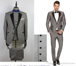 $enCountryForm.capitalKeyWord Australia - 2019 Custom Grey Male flower Suits Black Lapel Slim Fit Wedding Suits for Kid's Tuxedos Boy's Formal Wear (Jacket+Pants+Vest+Bow Tie)