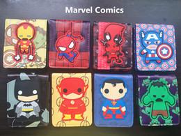 Cute Cartoon Avengers NZ - Comics Dc Marvel the Avengers Cartoon Wallet Cute Superman Iron man Batman 3D Purse Logo Credit Card Holder Man Wallet