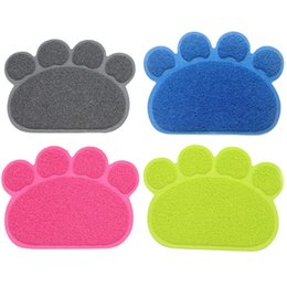 paw beds 2019 - 6 Colors Pet Dog Puppy Cat Feeding Mat Pad Cute Paw PVC Bed Dish Bowl Food Water Feed Placemat Wipe Clean Pets Cats Dogs