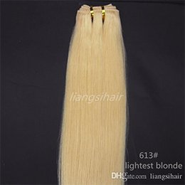 "26 7a grade hair UK - Brazilian Hair Weft products Grade 7A Brazilian Indian Peruvian human hair extensions weave 100g 1pcs 26"" 613# Lightest Blonde"