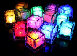 Discount ice block lights - 50PCS* ice block submersible Led lights Festival colorful LED ice cube lamp led Party Ice Cube night Light Wedding Chris