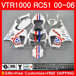 sp1 rc51 fairing Canada - Body For HONDA VTR1000 Glossy white RC51 SP1 SP2 00 01 02 03 04 05 06 92NO14 RTV1000 VTR 1000 00 2000 2001 2002 2003 2004 2005 2006 Fairing