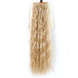 Venta al por mayor de Pelo 22 '' cola de caballo rizada larga para las mujeres negras Pelo rojo vino a prueba de calor Piezas de cabello falso sintético
