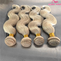 $enCountryForm.capitalKeyWord Canada - Hot Selling Blond 613 human hair weft body wave 4pcs brazilian peruvian remy hair bundles extensions #613 color Can be dyed free shipping